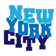 T shirt typography graphics New York blue - stock illustration
