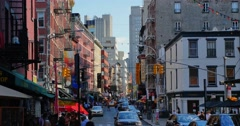 Timelapse View Street Little Italy in Manhattan  	 Stock Footage