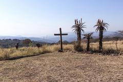 Large Wood Cross in Arid Dry Landscape Stock Photos