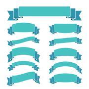 Blue ribbon banners set Beautiful blank decoration - stock illustration