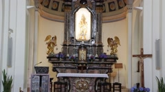 In italy the old inside of   church altar Stock Footage