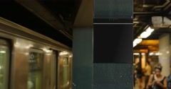 Manhattan Subway Train Approaches Platform Blank Sign Stock Footage