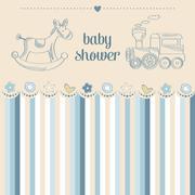 Baby boy shower card Stock Illustration