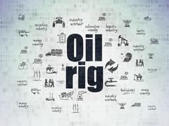 Industry concept: Oil Rig on Digital Data Paper background Stock Illustration
