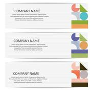 Set of vector banners with abstract geometric colored shapes Stock Illustration