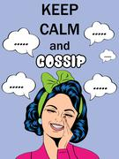 "Funny illustration with massage""Keep calm and gossip"" Stock Illustration"
