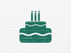 Entertainment, concept: Cake on wall background - stock illustration