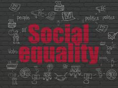 Political concept: Social Equality on wall background - stock illustration