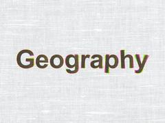 Learning concept: Geography on fabric texture background - stock illustration