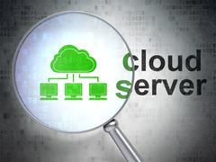 Cloud networking concept: Cloud Network and Cloud Server with optical glass - stock illustration