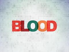 Medicine concept: Blood on Digital Data Paper background Piirros