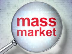 Marketing concept: Mass Market with optical glass - stock illustration