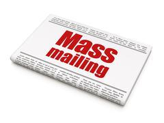 Marketing concept: newspaper headline Mass Mailing - stock illustration