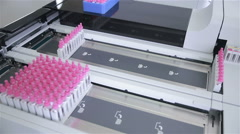 Modern medical equipment makes the analysis of bio materials Stock Footage