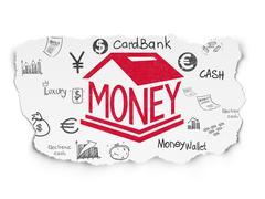 Money concept: Money Box on Torn Paper background - stock illustration