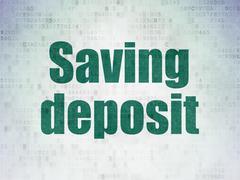 Money concept: Saving Deposit on Digital Data Paper background Stock Illustration