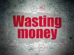 Currency concept: Wasting Money on Digital Data Paper background Stock Illustration