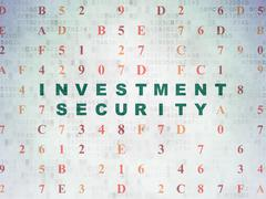 Security concept: Investment Security on Digital Data Paper background - stock illustration