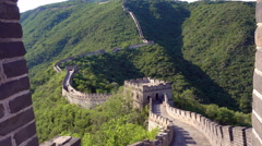 Aerial Mutianyu Great Wall beacon towers Stock Footage