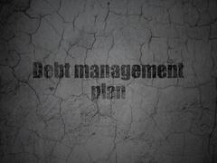 Business concept: Debt Management Plan on grunge wall background - stock illustration