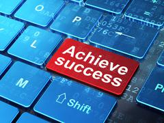 Finance concept: Achieve Success on computer keyboard background Stock Illustration