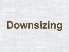 Finance concept: Downsizing on fabric texture background - stock illustration