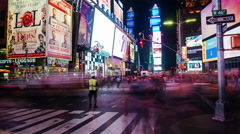 Timelapse of Traffic and People at Times Square at Night, New York City, USA Stock Footage