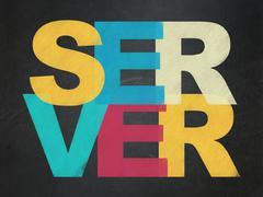 Web development concept: Server on School board background - stock illustration