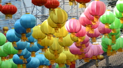 Colorful chinese lantern lamp Stock Footage