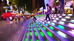 Asia Singapore Orchard Road shopping Mall illuminated stairway - stock footage