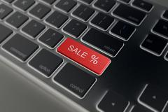 Word SALE on red key  computer keyboard. 3D Stock Illustration