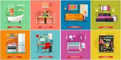 Home interior vector illustration in flat style. House design with furniture Stock Illustration