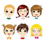 Children Facial Expression Stock Illustration