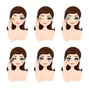 Fantasy Blue Eyes Makeup - stock illustration