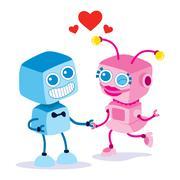 Robot Love Couple Stock Illustration