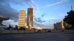 CityLife district, Milan, Italy. Allianz and Generali tower at sunset Stock Footage
