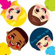 Happy Children Friends - stock illustration