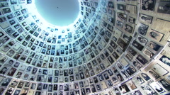 Yad Vashem, Israel's Holocaust Memorial, Hall of Names pictures of the perished Stock Footage