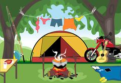 Camping day celebration with a tent in the middle of wild nature. Digital vec Stock Illustration