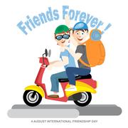 Happy friendship day card. 4 August. Best friends riding a red motorcycle. Di - stock illustration