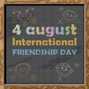 Happy friendship day card. 4 August. Hand drawn text and icons with chalk on Stock Illustration