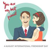 Happy friendship day card. 4 August. Best friends woman and man embracing. Di Stock Illustration