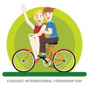 Happy friendship day card. 4 August. Best friends riding an orange bicycle. D Stock Illustration