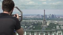 Young Man Enjoys Best Panoramic View Of Paris Stock Footage