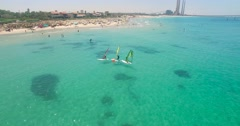 Windsurfing at sea - Aerial Shot Stock Footage