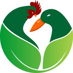 logo illustration green farm with duck and rooster - stock illustration