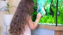 Girl looking at aquarium Stock Footage