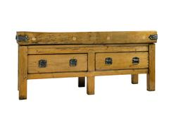 Antique butchers table block made of Beech Stock Photos