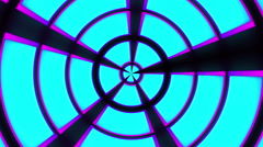 Cyan and Magenta Cubes, Trapezoids, and Arcs Radial Tunnel Animation Stock Footage