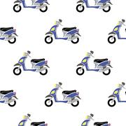 Seamless Blue Scooter Pattern Piirros